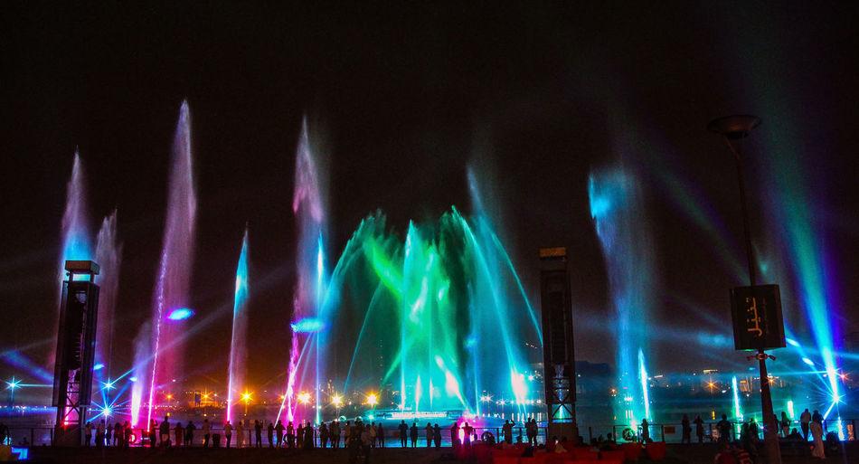 Fountain Fountains Fountain_collection Fountain Show Festival City Dubai Dubai Creek Lightshow Light And Water City Illuminated Nightlife Arts Culture And Entertainment Water Multi Colored Light Beam Laser Light Painting