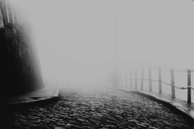 View of street in foggy weather