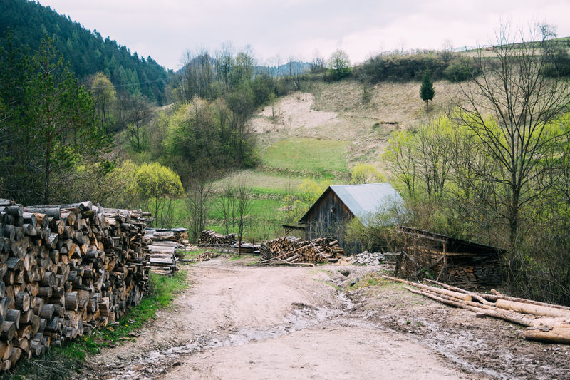 Built Structure Farm Hill Landscape Lesnica Log Nature No People Old Fashioned Outdoors Slowakia Spring Village