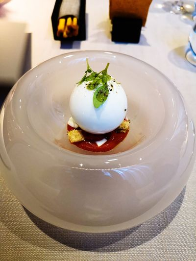 High angle view of caprese salad in plate