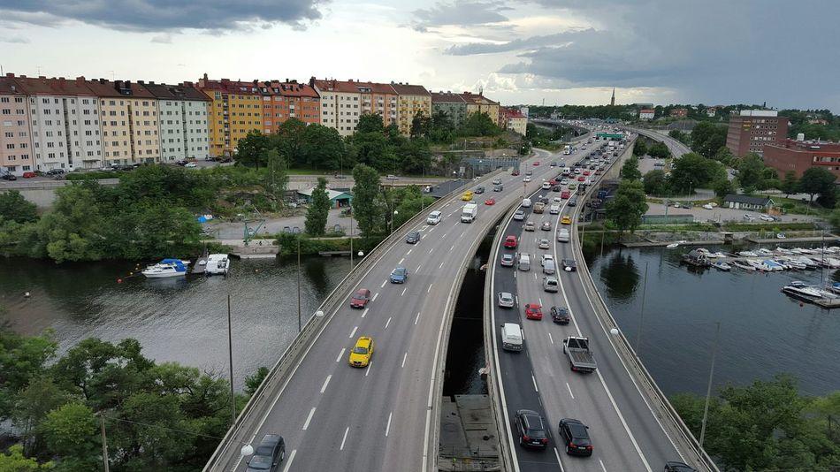 View of Essingeleden motorway and islands in Stockholm.. having my picknick up here :) Nice View Stockholm, Sweden Motorway