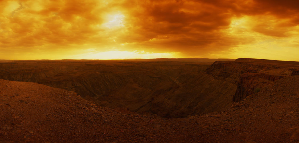 Beauty In Nature Dramatic Sky EyeEm Landscape Fish River Canyon Gold Colored HDR HDR Collection Hdrphotography Landscape Landscape_Collection Landscape_photography Namibia No People Orange Color Sunlight Sunset Sunset And Clouds  Sunset_collection
