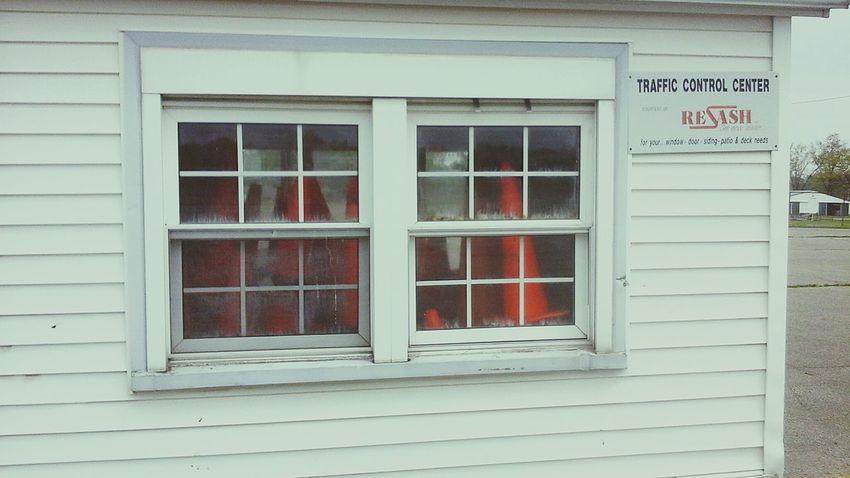 Window Window Frame Building Exterior Orange Cones Construction Work Control Built Structure Road Cones