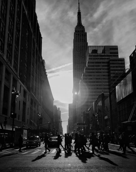 Building Exterior Architecture Built Structure City Street Sky Outdoors Road Day Skyscraper People Blackandwhite TheMinimals (less Edit Juxt Photography)