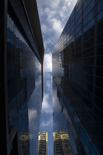 skyscrapers against sky in Gongdeokdong, Mapo, Seoul, South Korea Built Structure Architecture Building Exterior Building Sky Office Office Building Exterior No People Modern City Skyscraper Glass - Material Day Nature Cloud - Sky Outdoors Reflection Tall - High Bridge Tower Financial District  Directly Below
