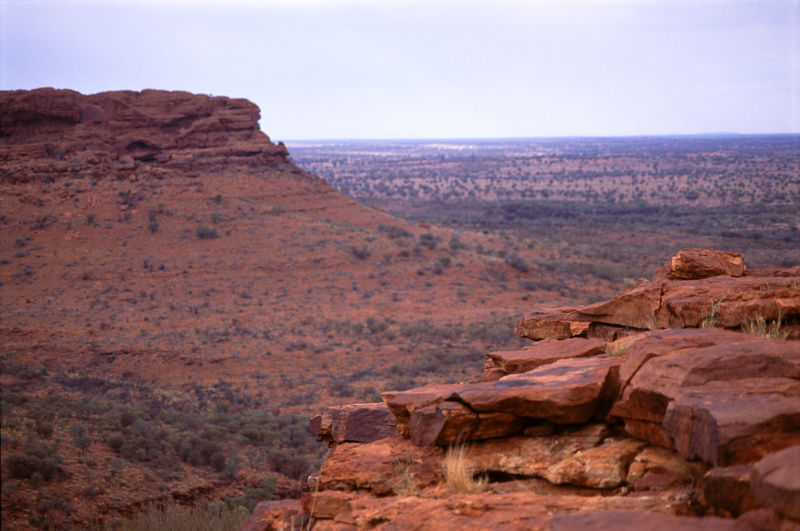 Scenic view of kings canyon against sky