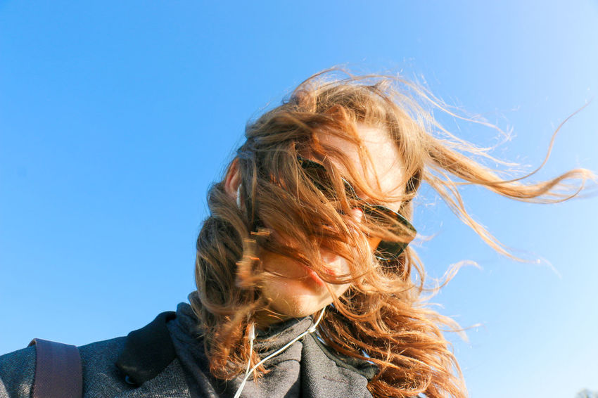 One windy day. Blond Hair Blue Clear Sky Front View Human Hair Lifestyles Long Hair Long Men's Hair Person Sky Wind Windy Windy Hair Young Adult Let Your Hair Down