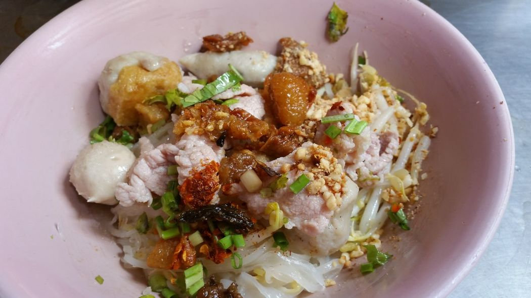 Thai style pork noodle. Bowl Clean Food Close-up Cuisine Culture Delicious Fishball Food Food And Drink Freshness Fusion Food Gourmet Healthy Eating Healthy Food Indoors  Local Food Meatballs No People Nutrition Pork Ready-to-eat Spicy Food Street Food Thai Food Thai Style Noodle