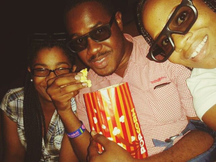 Friends At The Movies Eating Popcorn Team Follow Back