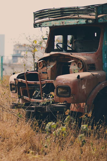 Outdoor Rustic EyeEmNewHere Nature Aesthetic Light Light And Shadow Combine Harvester Land Vehicle Fire Engine Stationary Rusty Agriculture Abandoned Agricultural Machinery Car Obsolete Pick-up Truck Truck Vintage Car