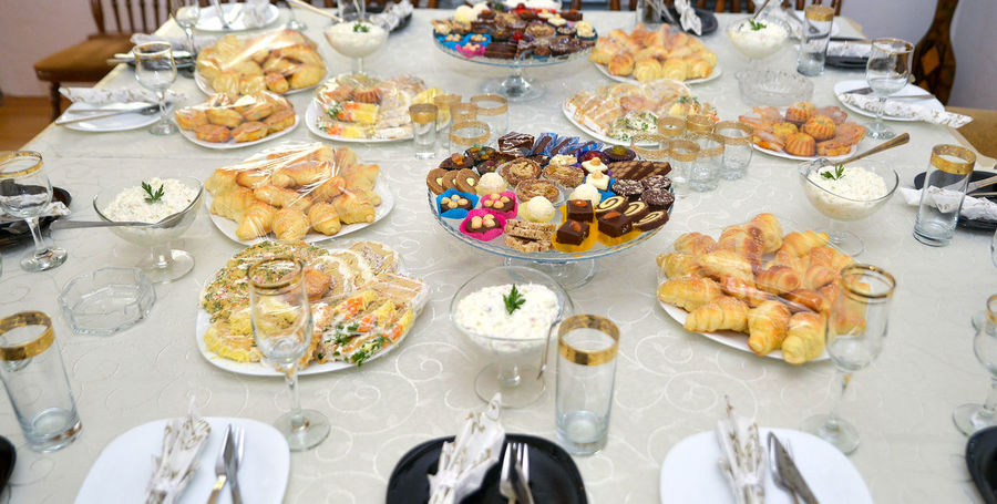 restaurant table with food Bakery Buffet Candy Catering Food And Drink Food Decoration Fruits ♡ Party Time Pastry Reception Restaurant Restaurant Food Salami Sweet Food Table Setting