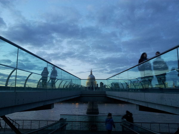 Thames River Evening View London Millennium Bridge One Fine Evening St Paul's Cathedral Thames River Side United Kingdom Architecture Blue Sky Bridge - Man Made Structure Building Exterior Built Structure Cloud - Sky Day Evening Time Men One Fine Day Outdoors People Real People Silhouette Sky Water Women HUAWEI Photo Award: After Dark