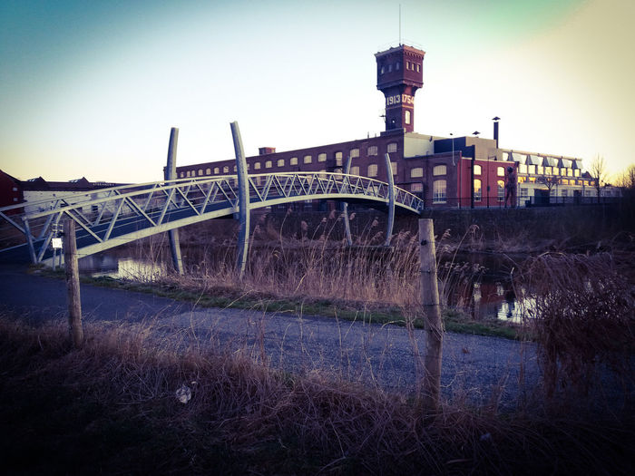 Great shot of the DRU Cultuurfabriek Architecture Bridge Bridge - Man Made Structure Building Exterior Built Structure City Clear Sky Connection Day Dru Cultuurfabriek Industry Nature No People Outdoors Plant River Sky Tower Transportation Ulft Water