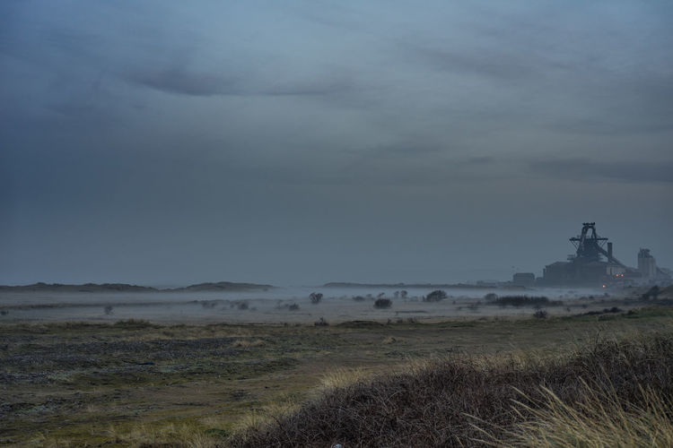 South Gare at Redcar. North east coast of UK. Sky No People South Gare Redcar Teesside Yorkshire North East England Uk England Cloud - Sky Plant Grass Fog Day Non-urban Scene Field Nature Scenics - Nature Environment Landscape Land Beauty In Nature Tranquility Architecture Tranquil Scene