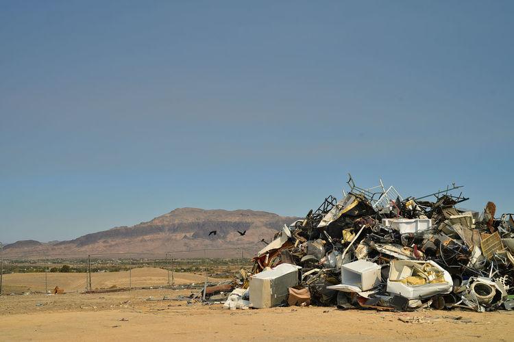 Landfill junkyard pile of debris in mojave desert town of pahrump, nevada, usa