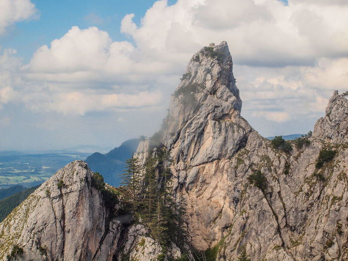 Mountain Rock Sky Beauty In Nature Cloud - Sky Scenics - Nature Mountain Range Environment Rock - Object Mountain Peak Landscape Solid Nature Tranquil Scene Tranquility Formation Day Cliff Outdoors Rock Formation High Height Bavarian Alps