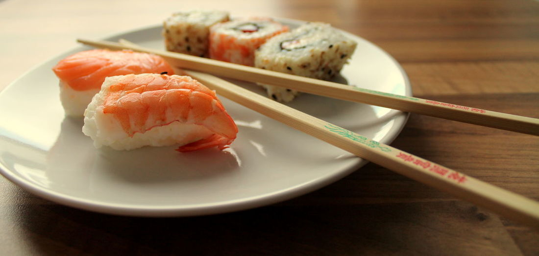 Sushi In Plate On Table At Home