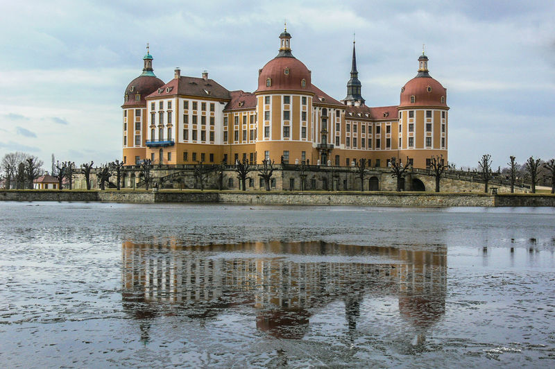 lake and castle Moritzburg in Saxony Castle Ice Winter Architecture Building Exterior Built Structure Cloud - Sky Day History Lake Nature No People Outdoors Place Of Worship Sky Travel Destinations Water Waterfront
