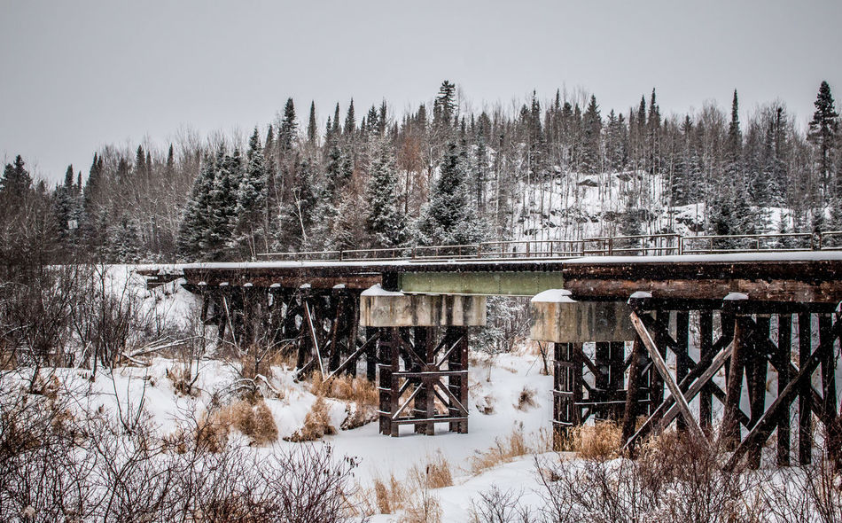 Architecture Beauty In Nature Bridge Cold Temperature Day Diminishing Perspective Landscape Landscapes Nature Ontario, Canada Outdoors Railroad Railroad Bridge Railroad Track Season  Snow Snow Covered Snowing The Week On EyeEm Train Winter Winter Winter Trees Winter Wonderland Wintertime Betterlandscapes Shades Of Winter