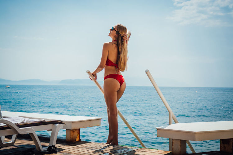 Water Sea Sky Young Women One Person Young Adult Beauty In Nature Real People Leisure Activity Clothing Horizon Lifestyles Swimwear Women Bikini Horizon Over Water Nature Beautiful Woman Adult Fashion Hairstyle Hair