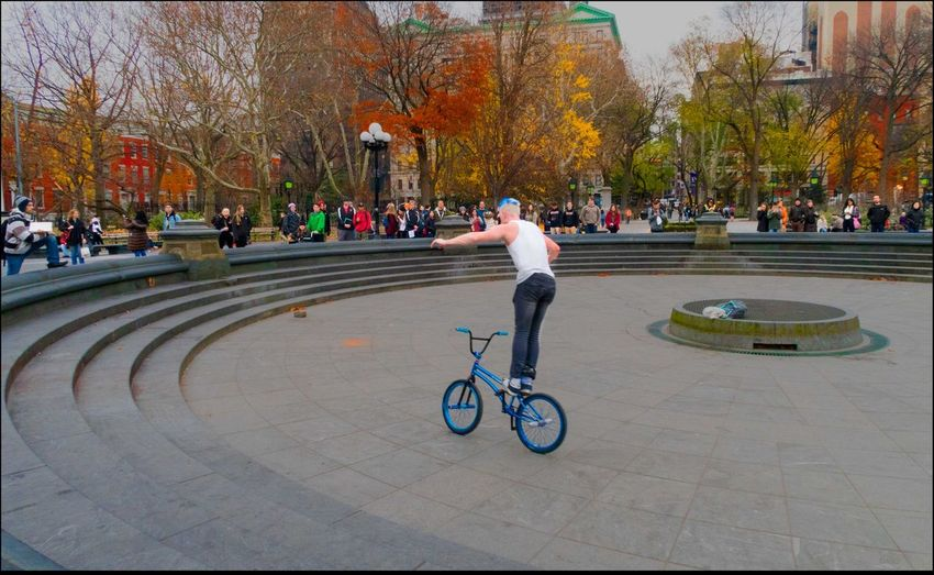 Look Ma, no Hands Athlete Bicycle City Life Lifestyles Performer W/ Bicycle Real People Riding Skilled Street Performer Trickester Wash. Sq. Park, 12/9/15