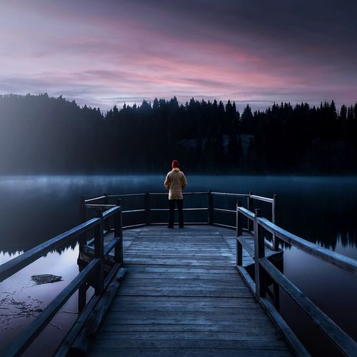 Free your mind.. Canon EyeEmNewHere Sunrise Landscape Water One Person Lake Beauty In Nature Scenics - Nature Standing Sky Tranquility Tranquil Scene Real People Railing Nature Pier Night Lifestyles Men Outdoors Looking At View Capture Tomorrow