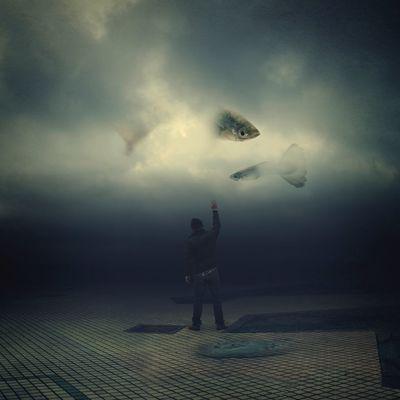 潮濕到像水世界 Surrealism BoShiuan Shiuanphoto Photoshop Fine Art Photography Fish Rainy Days Self Portrait Water