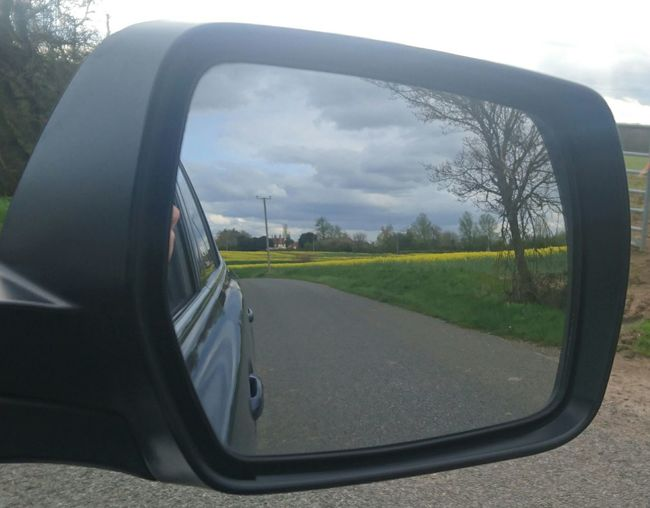 Cloud Cropped Field Grass Journey Land Vehicle Legacy Mode Of Transport Nature Rapeseed Rapeseed Field Rear View Mirror Road Side-view Mirror Subaru Transportation
