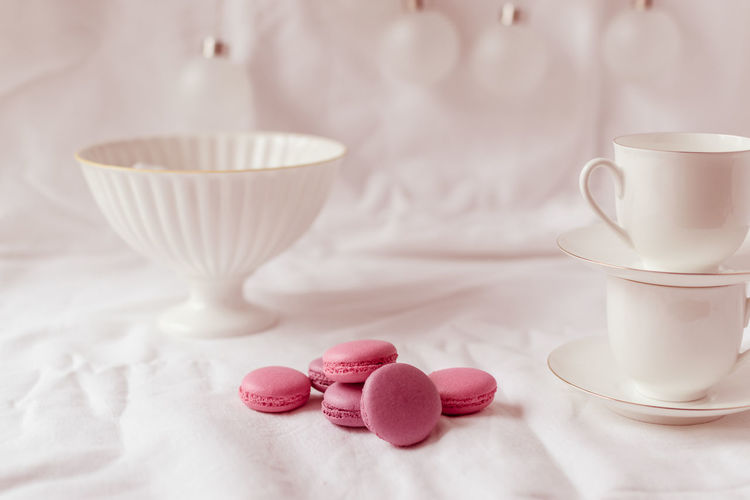 Sweet Food Food And Drink Indoors  No People Pink Color Drink Homemade Close-up Pastel Colors Delicate Tea Set Fine China Porcelain Cup White Color Macaroon Treat Cookie Biscuits Morning Rituals Teatime