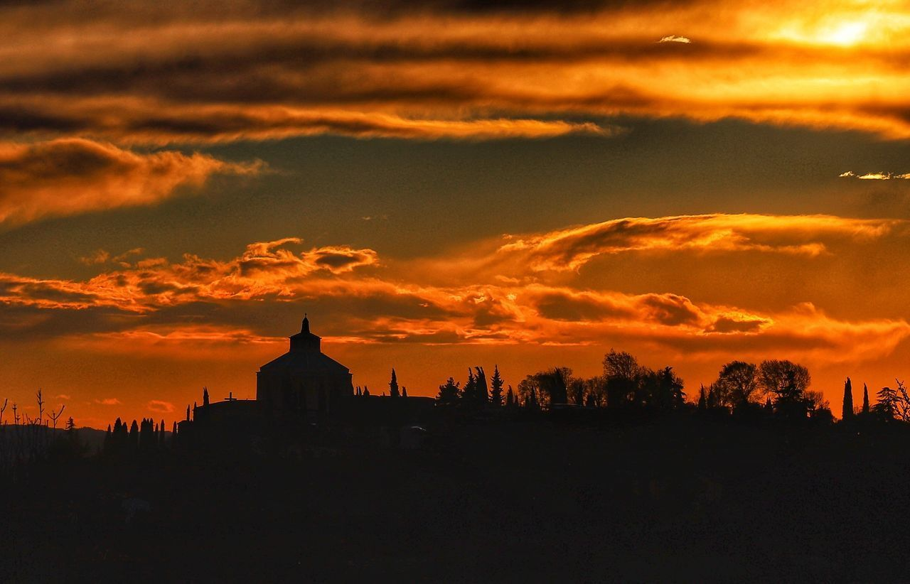 sky, sunset, cloud - sky, built structure, silhouette, building exterior, architecture, orange color, nature, no people, building, beauty in nature, place of worship, outdoors, religion, scenics - nature, tranquility, travel destinations
