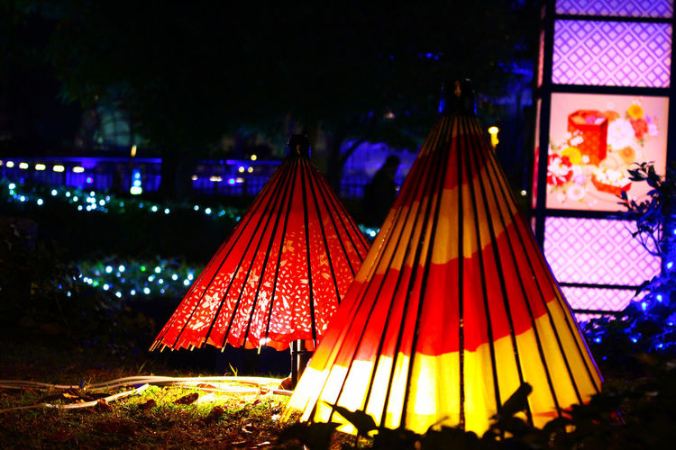 View of illuminated tent on field at night