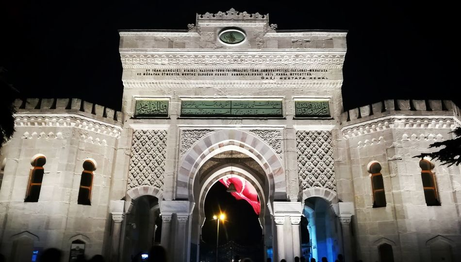 Istanbul University Campus Night Lights Flag Castle Architecture Ottoman Door EyeEm Best Shots EyeEm Gallery Day Travel Destinations Building Exterior Outdoors City Low Angle View Arch