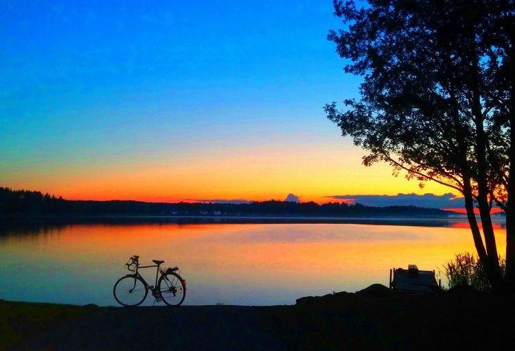 Lake Sky Sunset Water Blue Sky Orange Sky Clouds