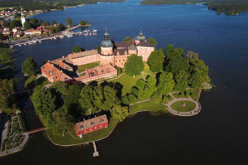 Aerial view of the Gripsholm castle located in the Swedish province of Sodermanland. Castle Gripsholm Mariefred Sweden Tourist Attraction  Aerial View Architecture Building Building Exterior Day Famous Place Greenery High Angle View Landmark Nature No People Outdoors Plant Sweden Nature The Past Tourism Tourist Destination Travel Travel Destinations Water