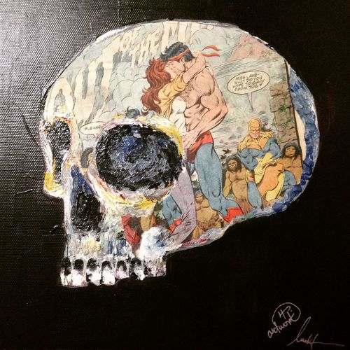 """""""Till death do us part """" Acrylic & mix media on canvas by LPHartwork getFreaky gallery Super Hero Art Painting Mixmedia LPHartwork Charcoal #skull #art #artist #sketch #tattoo #tattooed #ink #inked #pencil #doodle #skin #skeleton #tattooedup #color #colour #cooltattoo #picture #picture #bones #skull Art #wallart #skulltattoo #skullhead #skullaholic  Acrylic Painting"""