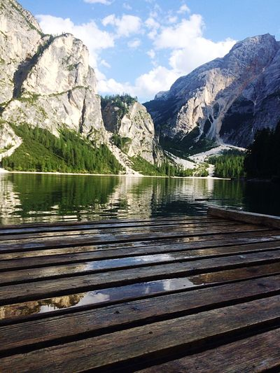 Nature Reflection Mountain Mountain Range Lake Scenics Water Beauty In Nature Reflection Nature Tranquility Tranquil Scene Idyllic Day Outdoors No People Waterfront Sky Landscape Snow Italy Braies Lake Lago Di Braies Awesome Panorama