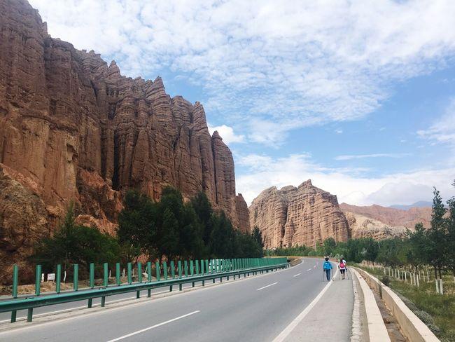 Hello World Taking Photos Traveling Road Landscape Danxia Road Trip IPhoneography Danxia Landform On The Way