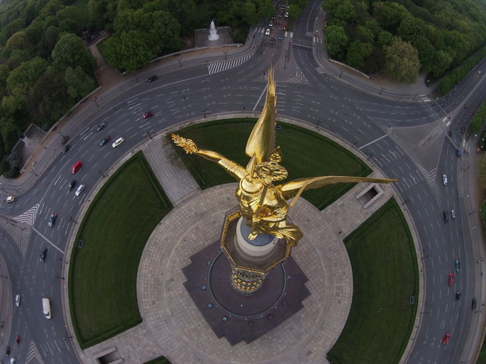 High angle view of angel statue at berlin victory column