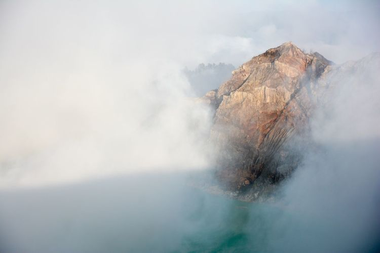 Scenic view inside active volcano crater