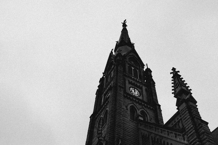 Architecture Blackandwhite Building Exterior Built Structure Church Clock Clock Tower Day History Low Angle View Monochrome No People Old Buildings Oldchurch Outdoors Sky Tower Travel Destinations