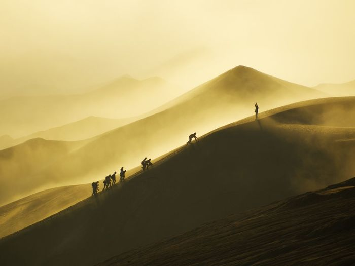 Winner Competition Winner Conquer Champion Motivation Mountain Fog Dawn Agriculture Sky Landscape Sand Dune Desert Volcanic Landscape First Eyeem Photo My Best Photo