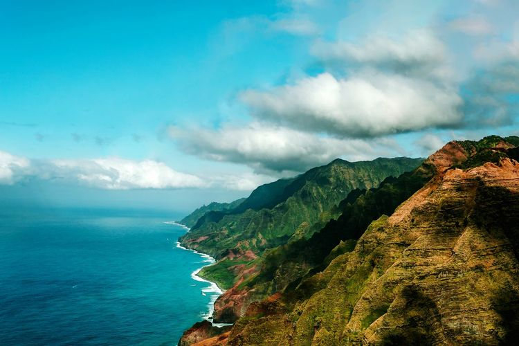 Kauai, Hawaii Helicopter Photography Napali Coast Helicopter View  EyeEmBestPics EyeEm Selects Palm Tree EyeEm Eye4photography  EyeEm Gallery Cloud - Sky Scenics - Nature Sky Beauty In Nature Sea Water Mountain Tranquility Tranquil Scene Nature No People Tree Day Outdoors Beach