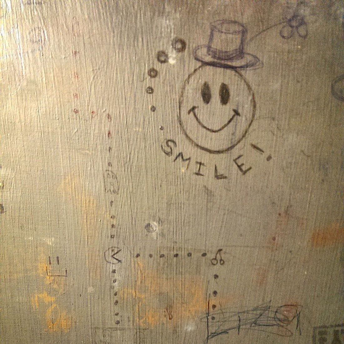 Someone made their own Fame of Pacman in here TicketBooth Smile graffiti bored