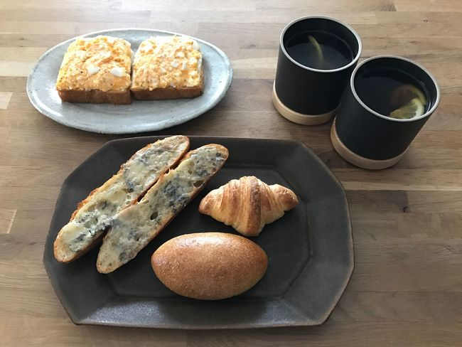 Today's breakfast. Blue cheese baguette, egg bread and chocolate bread, croissant. Food And Drink Food Freshness Plate Bread Ready-to-eat Breakfast High Angle View Table Healthy Eating Serving Size Indoors  No People Drink Bun Sandwich Scone Fast Food Day Croissant Egg EyeEm