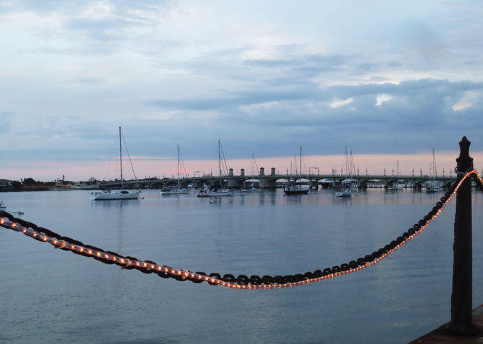 At Anchor Bridge Of Lions Harbourfront Sailboats St Augustine, FL Sunset