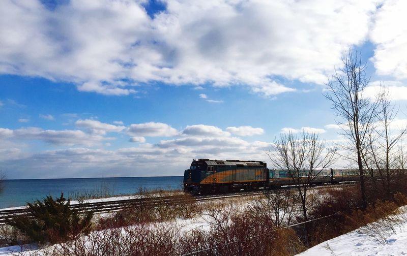 VIA Rail train heads east along Lake Ontario near the Scarborough Waterfront Trail ... IPhoneography Train VIA Rail
