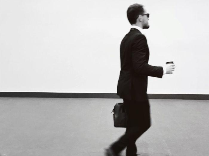 Blackandwhite Photography Train Station Man Suit Minimalism
