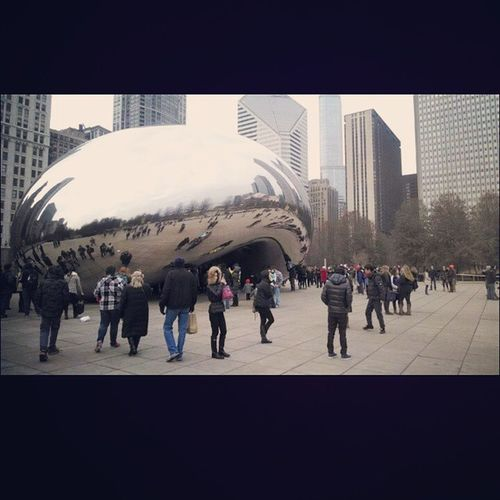 This is from one of my first times in Chicago last year. granted I'm sure a lot of people have seen it and taken pictures of it but it was bigger and much cooler in person. you can't walk under it in a picture! Bigbean Bean Chicago ChicagoBean Awesome Urban Urban Design