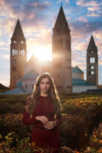 Women Beauty Standing Outdoors Portrait Young Adult Sunset Caucasian People Pretty Fashion Cloudscape Looking At Camera Long Hair Building Towers Beautiful Woman Dress Attractive Dusk Lens Flare Cathedral Gorgeous Sexygirl Built Structure My Best Photo International Women's Day 2019
