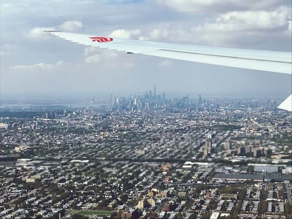 Landing Cityscape City Architecture Sky New York New York From Above JFK Airport Air China Boeing 747 Building Exterior Day Outdoors Aerial View Mid-air Flying